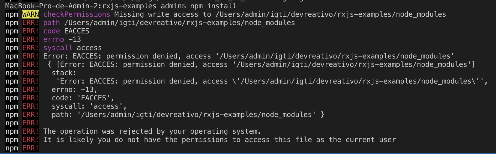 A imagem traz um erro de permissão ao instalar um pacote usando o NPM
