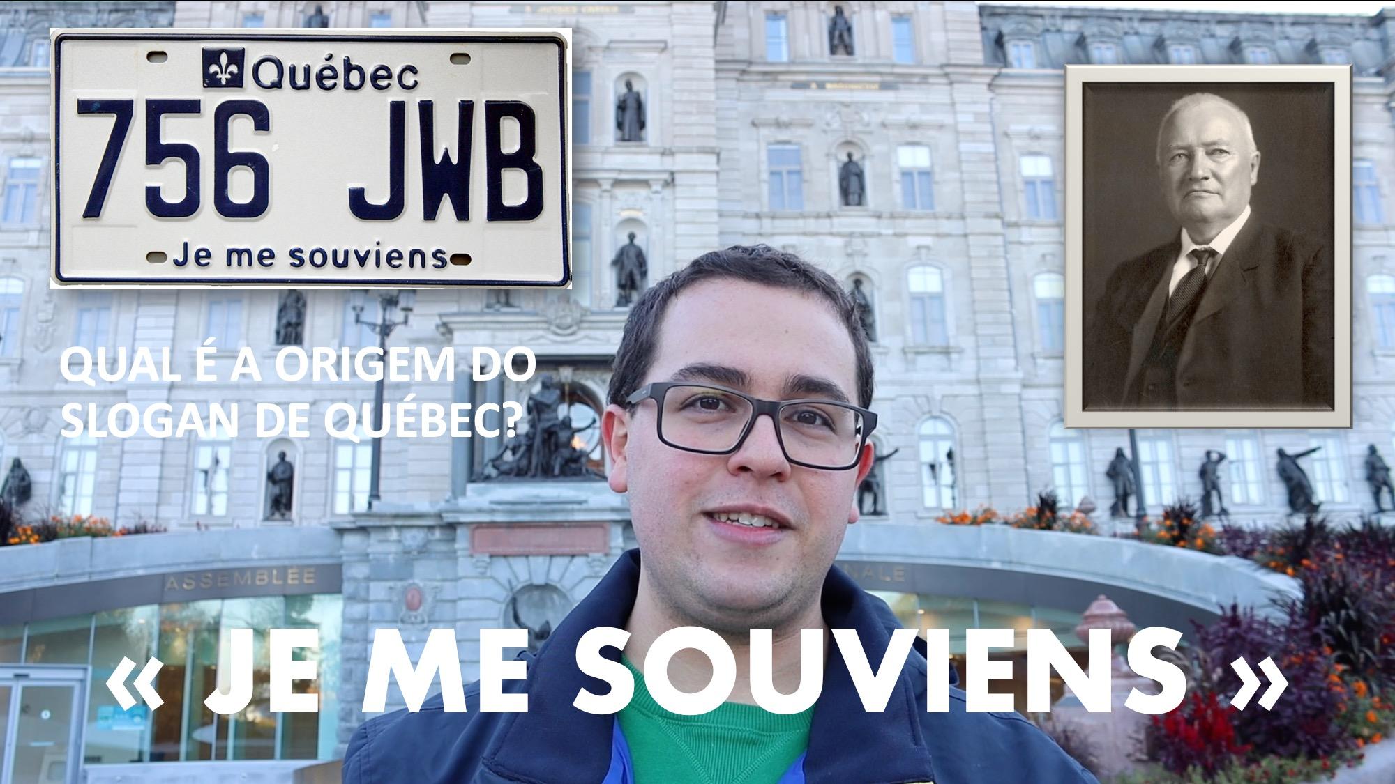 """Foto com a placa de carros de Québec e o slogan """"Je me souviens"""""""